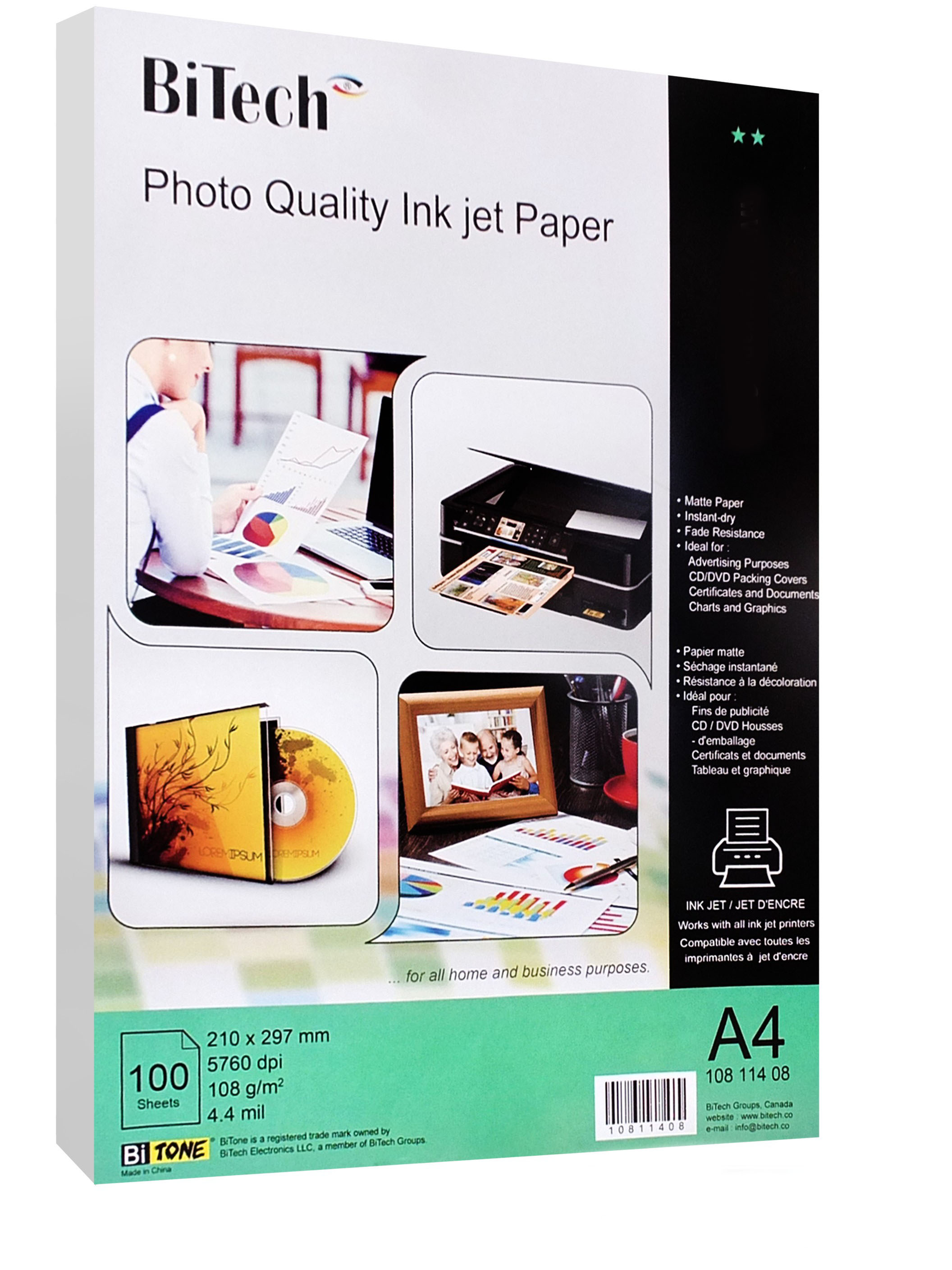photo quality ink jet paper 100sheets/ A4/108g