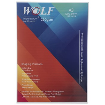 Wolf A3 Photo Glossy Paper 260gr 50sh